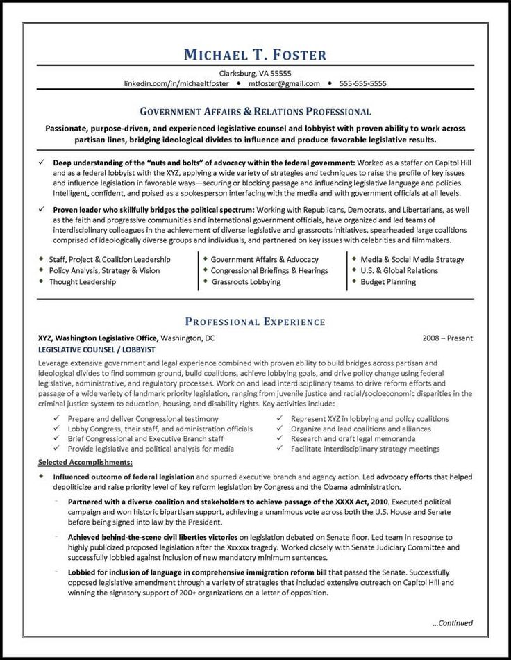 government affairs resume examples