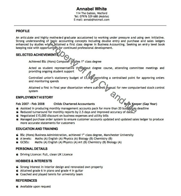 cv examples CV Example Of Recent Graduate CV info Pinterest - nursing assistant resume examples