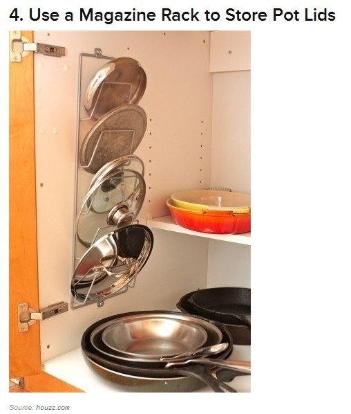 Magazine Rack to Organize Lids - http://www.buzzfeed.com/peggy/52-totally-feasible-ways-to-organize-your-entire-h