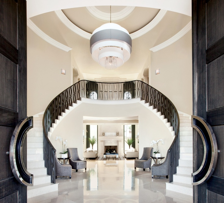 Luxury staircase entry foyer black and white staircase for Grand staircase floor plans