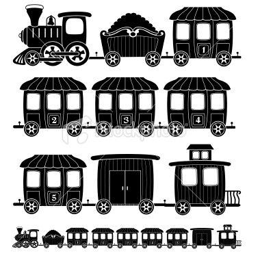 Black and White Train | cartoon steam engine train in black and white - Stock Illustration ...