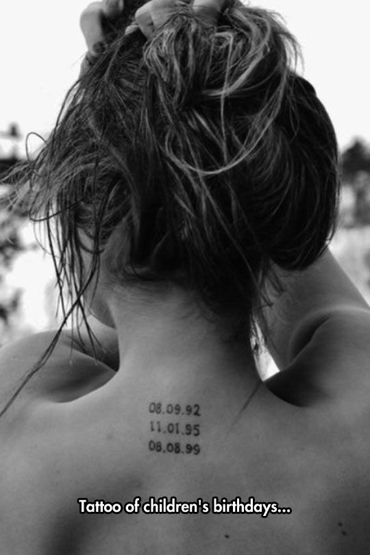 A tattoo you must have if you are my wife...helps me remember all the important dates without having to ask.