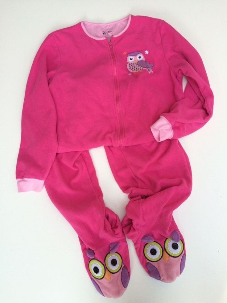 NICK & NORA Woman's Footed Pajama Sleeper Pajamas SMALL Pockets Owl Pink…