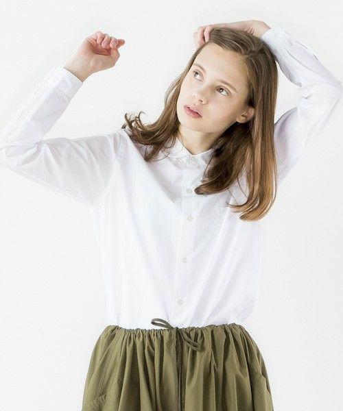 Bshop LADIES(ビショップ レディース)の<15秋冬>【LE GLAZIK(ル グラジック)】長袖丸襟シャツ GZC(シャツ/ブラウス)|ホワイト