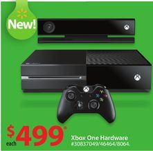 Xbox One Hardware from Walmart $499.00.