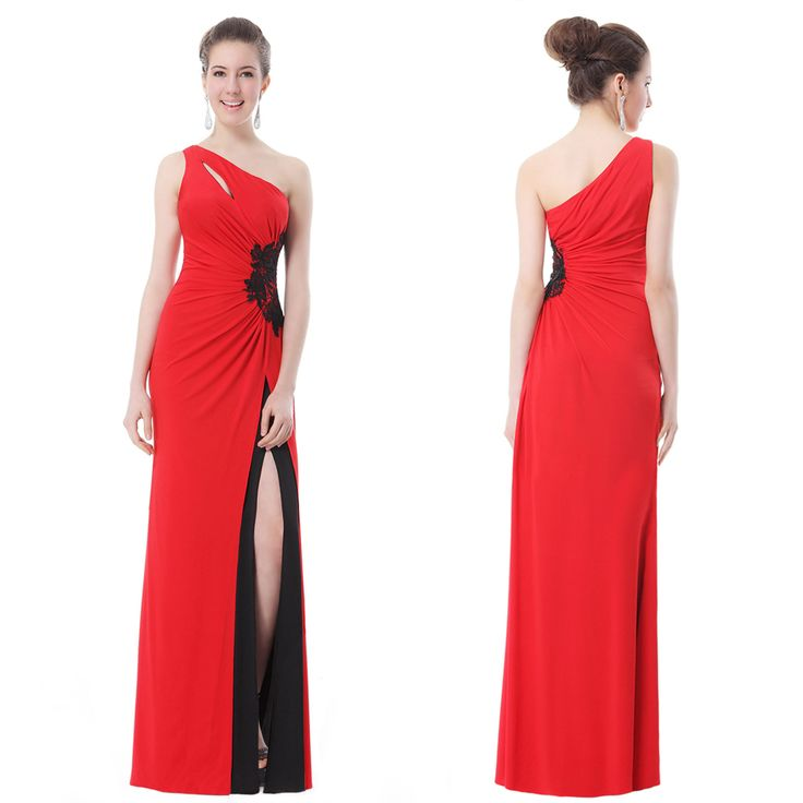 Women-Sexy-Ruched-Waist-Slitted-Red-Long-Party-Dress