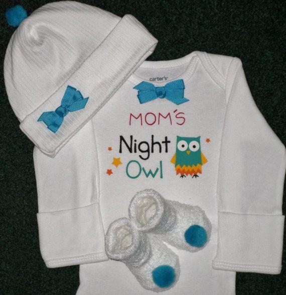 Mom's Night Owl Newborn Baby Girl Onesie Gift Set by SugarBearHair, $16.95