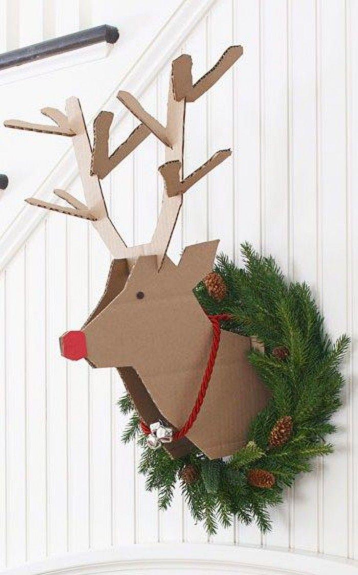 Kerstwerkjes - DIY rendier van karton. Ook leuk om deze van hout te maken.