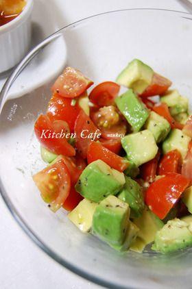 トマト&アボカドのサラダby cookpad  材料  ミニトマト  大きめ5個  アボカド  1個  レモン  1/2個  ブラックペッパー  適量  塩  適量  シエロオリーブオイル  大さじ1