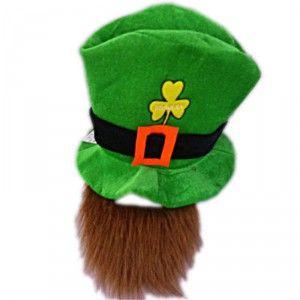 2 en 1, ce chapeau haut de forme aux couleurs de la Saint Patrick comprend également la barbe rousse!