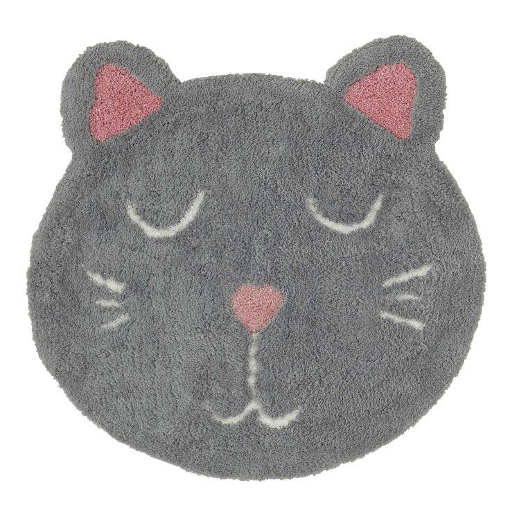 Kinderteppich Katze grau 80 x 80 cm MIMICHAT