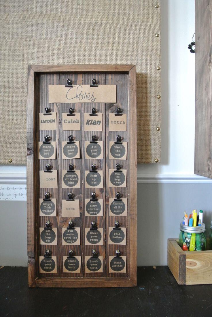 Kid's Chore Chart, Wooden Chore Chart, Rustic Chore Chart, Personalized Chore Chart, Chore Activity Board, Chore Chart Board, Wooden Display by DecoratedRoom on Etsy https://www.etsy.com/listing/245197623/kids-chore-chart-wooden-chore-chart
