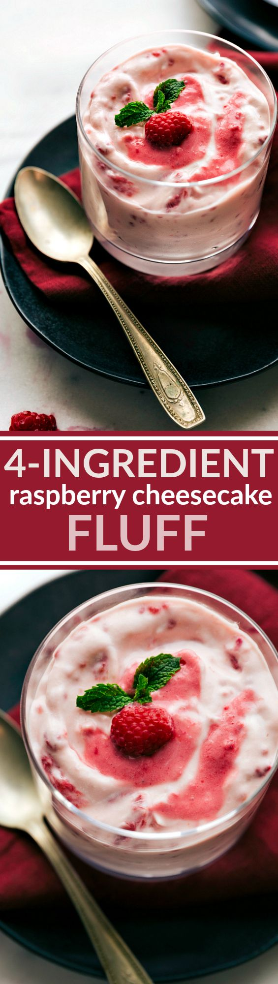FOUR INGREDIENT RASPBERRY CHEESECAKE FLUFF. A ridiculously easy dessert salad, only FIVE minutes prep and totally foolproof! Recipe via chelseasmessyapron.com