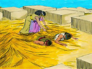Rahab however, sensing her visitors were in danger, took them up to the roof and hid them. – Slide 10