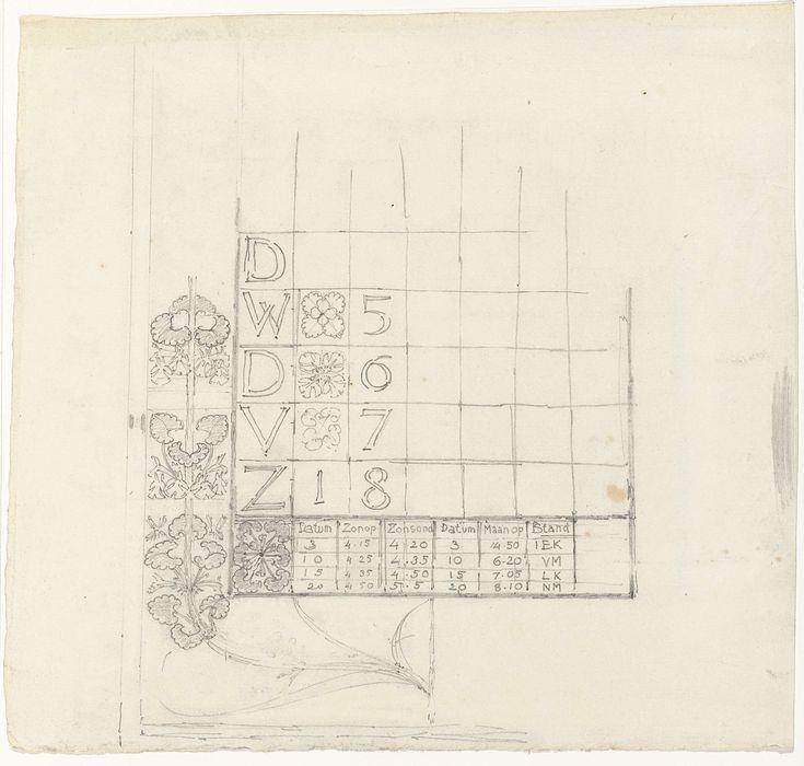 Gerrit Willem Dijsselhof   Ontwerp voor een kalender, Gerrit Willem Dijsselhof, 1876 - 1924  