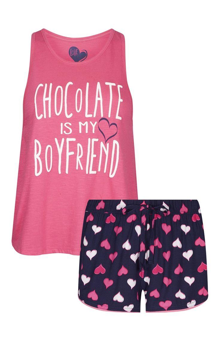 Primark - Pijama corto rosa San Valentín Chocolate