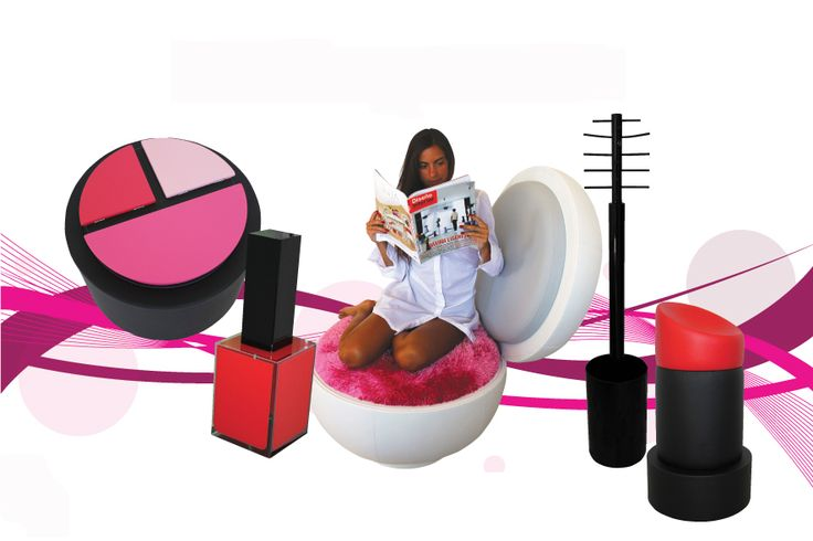The exclusive series consists of: Rossetto [Lipstick] stool |Cipria [Powder] armchair |Ombretto [Eye-Shadow] table-magazine holder |Smalto [Nail Polish] LED lamp |Mascara hanging – umbrella stand