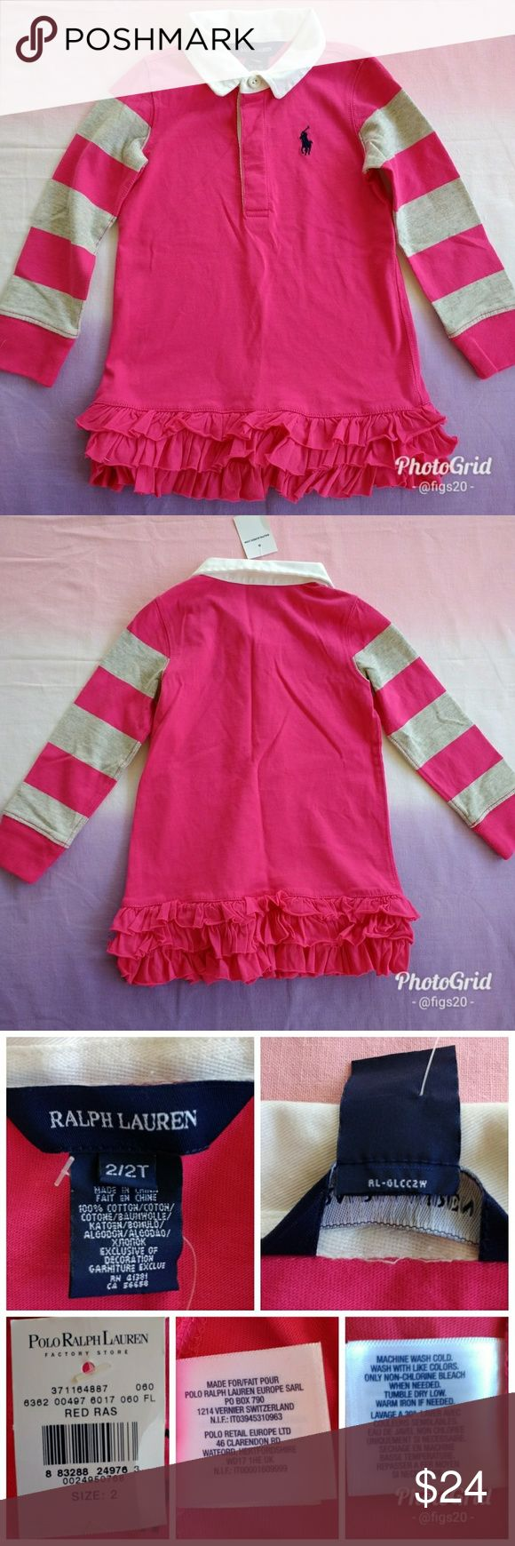 NWT RL Rugby Jersey Style Dress This is a lovely NWT Ralph Lauren rugby jersey style dress with pink and grey striped sleeves, a white collar, and pink shirt ruffles in size 2/2T from the Ralph Lauren factory store. Adorable! Let me know if you have any questions! Ralph Lauren Dresses Casual