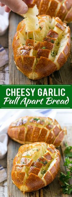 This recipe for cheesy garlic pull apart bread is crusty rolls stuffed with garlic butter and plenty of cheese, then baked to perfection. The perfect accompaniment to a hot bowl of soup! BearCreekSoups AD