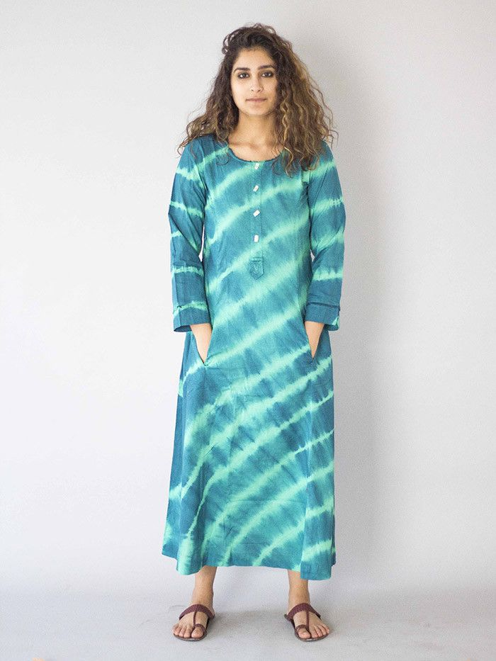 Green Tie and Dye Cotton Dress