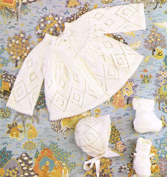 baby matinee coat bonnet set vintage knitting by Ellisadine