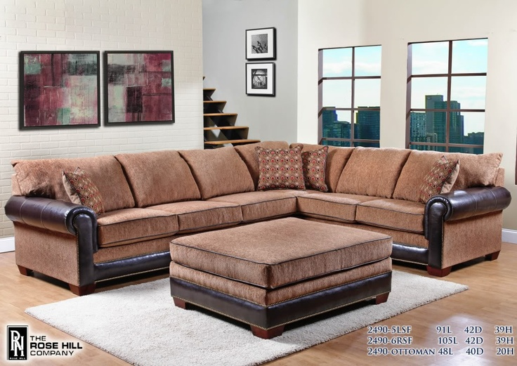 Rose Hill Furniture Alexander Dream Acorn Two Piece Sectional Sofa With  Ottoman | Comfortable Living | Pinterest | Sectional Sofa, Ottomans And  Living Room ...