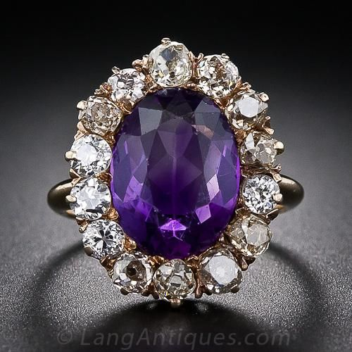 Victorian Amethyst and Diamond Ring -  A bright grape flavored Amethyst radiates from within a glistening halo of various colored (white, yellow and brown) and chunky old mine-cut Diamonds in this classic Victorian just-for-fun ring, crafted in warmly patinated 14 karat Yellow Gold, circa 1880.  Lang Antiques