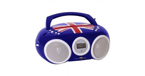 Φορητό ραδιόφωνο / CD / MP3 / USB με στάμπα την Αγγλική σημαία στο καπάκι του CD. Μικρό και άνετο στη μεταφορά.- Αναλογικός ραδιοφωνικός δέκτης FM- CD / MP3 Player- Οθόνη LCD- Αναλογικός συντονισμός σταθμών- Προγραμματιζόμενη λίστα αναπαραγωγής (Μόνο σε λειτουργία CD)&n