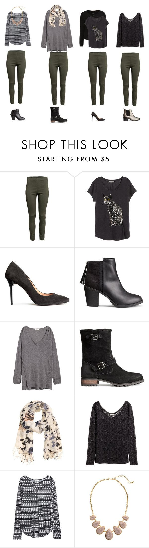 """""""4 set kaki trousers"""" by lone-haure-norrevang on Polyvore featuring H&M, VILA, women's clothing, women, female, woman, misses and juniors"""