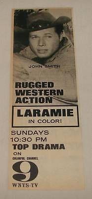 1963 LARAMIE tv series ad ~ John Smith ~ WNYS-TV in Entertainment Memorabilia, Television Memorabilia, Ads, Flyers | eBay