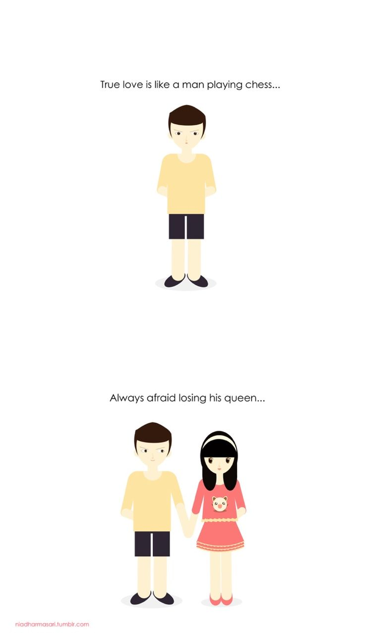 "Cute Doodles Illustration — ""True love is like a man playing chess, always..."