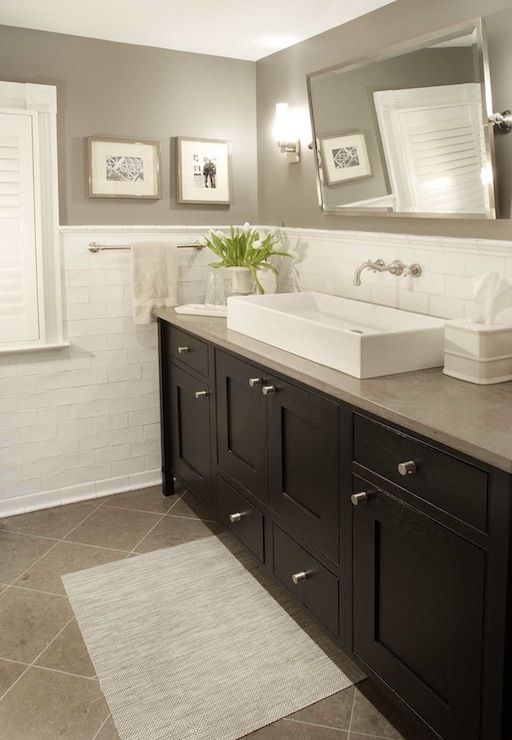 Papyrus Home Design: Bathroom with gray paint color, crackled subway tiles backsplash, rectangular pivot ...