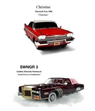 Plymouth Fury de CHRISTINE: O CARRO ASSASSINO e Cadillac Eldorado de AUSTIN POWERS CONTRA O HOMEM DO MEMBRO DE OURO