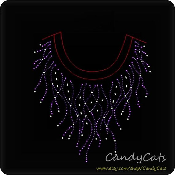 Shining Purple Collar Iron on Rhinestone Transfer by candycats