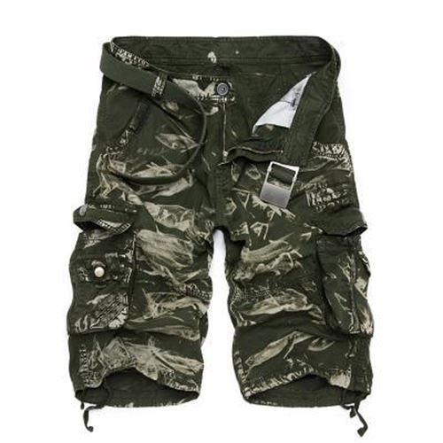 Cotton Fabric Mid Waist Blue Grey Color Summer Wear Cargo Shorts For