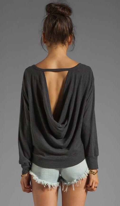 MONROW Drape Back Sweatshirt in Vintage Black   REVOLVE
