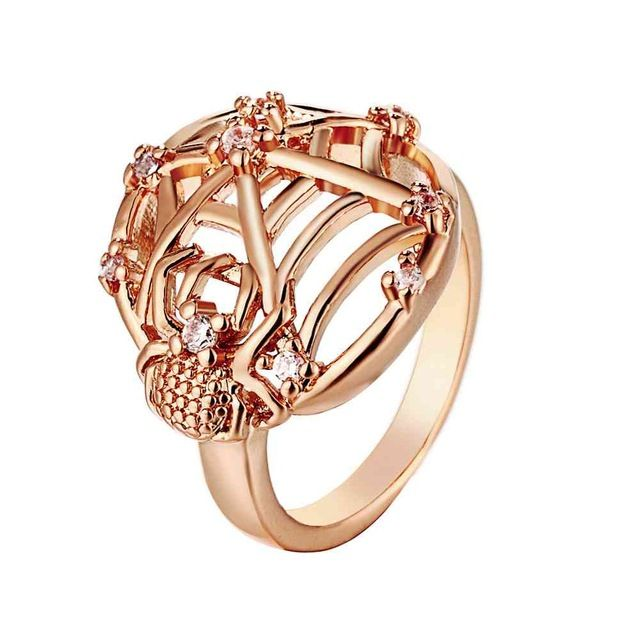 Envío Libre Caliente de La Nueva Manera 18 k plateó los anillos para las mujeres anel de ouro traspasado ronda los precios en euros SKGR111