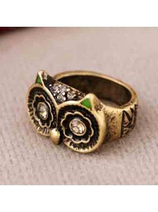 Cocktail Bronze Owl Ring