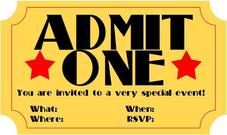 movie ticket invitations clipart - Google Search