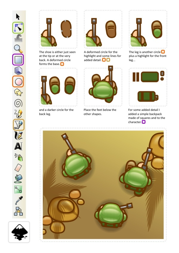 2d Game Character Design Tutorial : D game art for programmers top down view soldier
