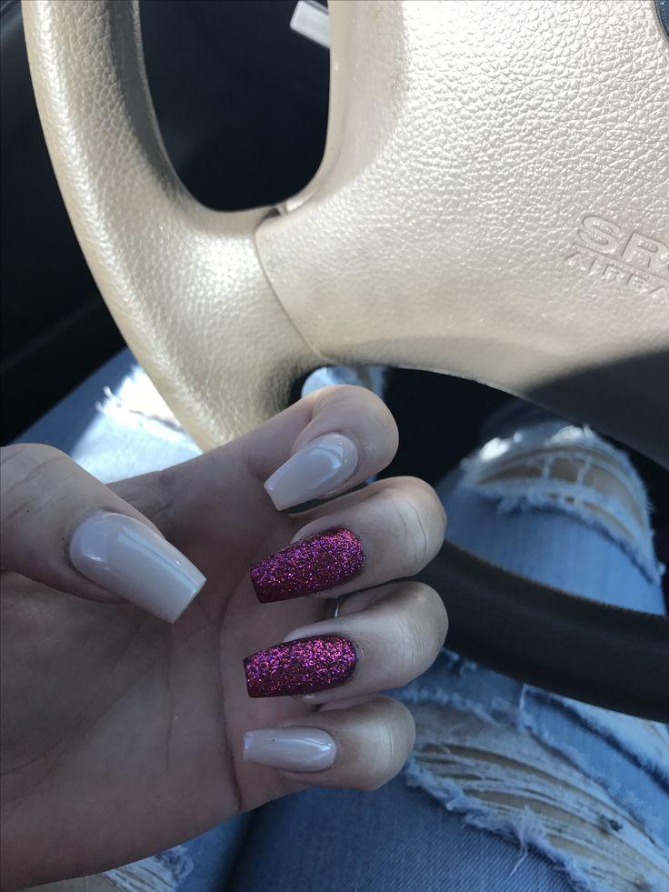 cute glitter nails nude nails glitter acrylic nails burgundy nails