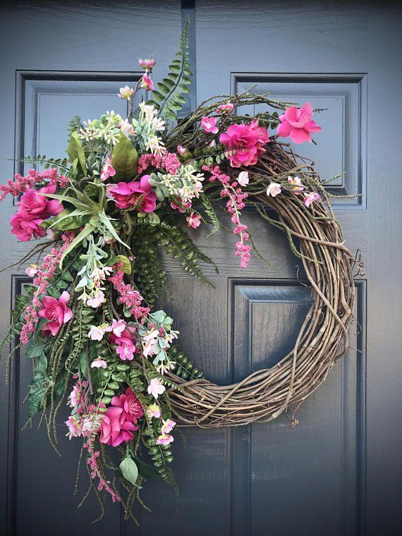 Pink Spring Wreaths Pink Door Wreath Door Decor Spring Spring