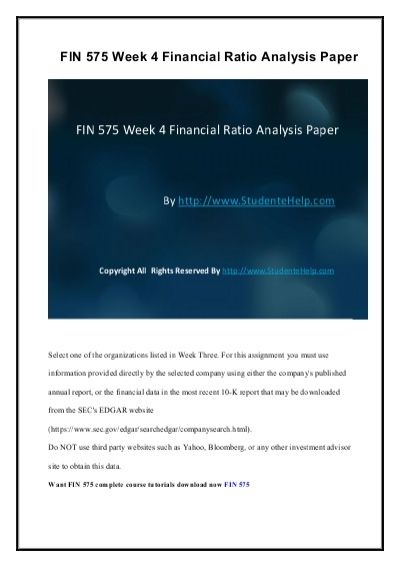 There is also an added advantage to the FIN 575 Week 4 Financial Ratio Analysis Paper. We have prepared an exclusive section for the students, which contain answers to some of the questions as examples.