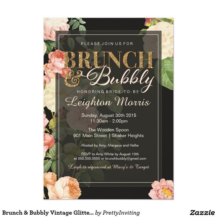 pink black and white bridal shower invitations%0A Brunch  u     Bubbly Vintage Glitter Bridal Shower