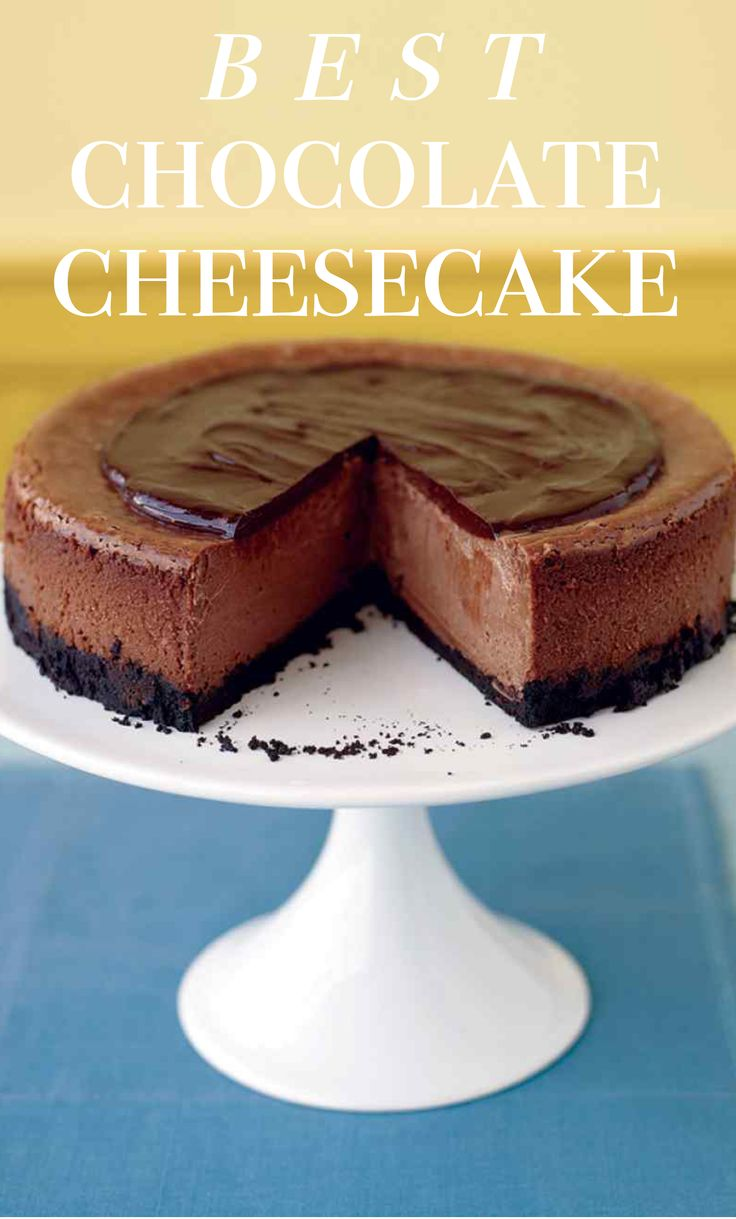 Triple-Chocolate Cheesecake   Martha Stewart Living - An American-born beauty, the cheesecake gets upgraded with a triple dose of chocolate. It's in the crust, in the filling, and over the top. To help prevent cracks, turn off the oven and let the cheesecake sit inside for an hour. To cut the cleanest slices, use a knife dipped in warm water.