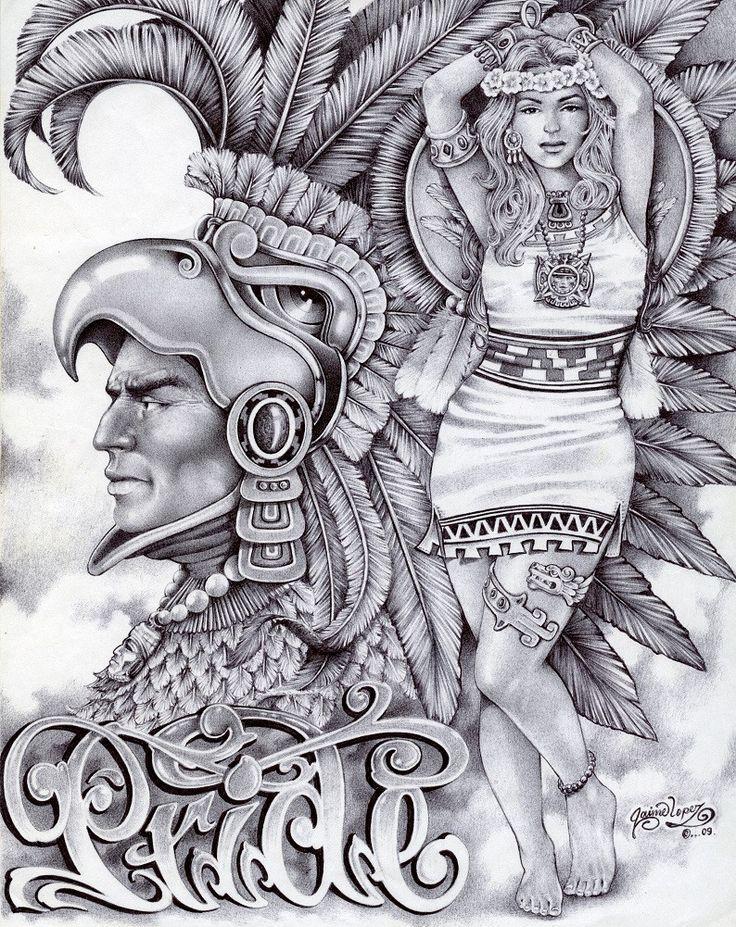 Aztec Pride by Mouse Lopez Lowbrow Artwork Canvas Art Print