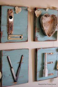 Love letters repurposed junk letters http://bec4-beyondthepicketfence.blogspot.com/