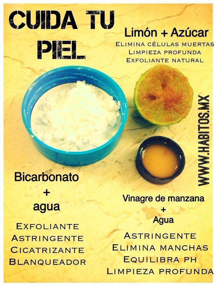 """CUIDA TU PIEL NATURALMENTE  PASO 1 El limón con azúcar sirve de exfoliante y elimina manchitas.  PASO 2 El vinagre de manzana (debe decir """"con madre"""" el envase) actúa como astringente natural y equilibra el ph.  PASO 3 Yo uso aceite de coco para la cara, pero poquito una mini gotita rinde perfecto...si se ponen mucho pues se van a ver grasosas(os)."""