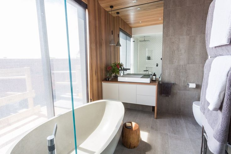 This stylish bathroom appeared on The Block Fans vs. Faves. It features the Horm Flint tile from Beaumont Tiles. #TheBlock