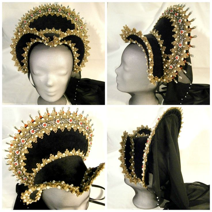 Renaissance French Hood, Tudor French Hood, Anne Boleyn, LARP, Detachable Crown Adornments by CadwaladrCostumes on Etsy